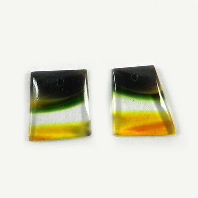 1 Pair Mexican Glass Gemstone 13x14mm Fancy Cab 9.6 cts Stones ER6592