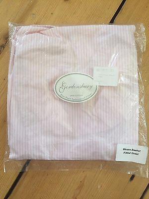 100% cotton fitted moses basket sheet: pink/white striped – new/BNWT