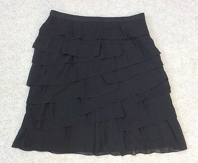 """Marks & Spencers Per Una Ladies Black Tiered Short Skirt Size 14 , Length 24"""""""