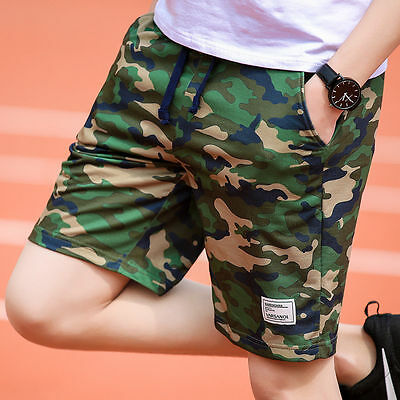 Men Camouflage Shorts Army Green Board Trousers Mid Waist  Size 3colors