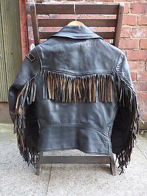 Lewis Leather Aviakit Genuine Vintage Ladies Tasselled Motorcycle Jacket