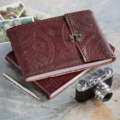 Indra FairTrade Med Embossed Stitched Leather Photo Album Scrapbook 2nd Quality