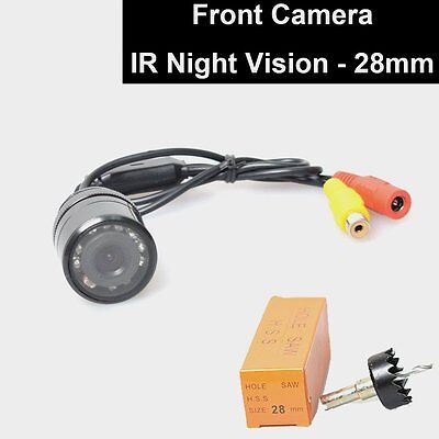Car Flush Mount Front View Forward Camera 28mm Hole Saw Drilling IR Night Vision