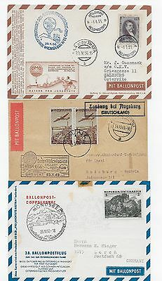 Three Foreign Balloon Postcard Covers