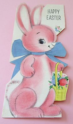 Used Vtg Easter Card Cute Pink Bunny w Big Blue Bow & Easter Basket Hallmark