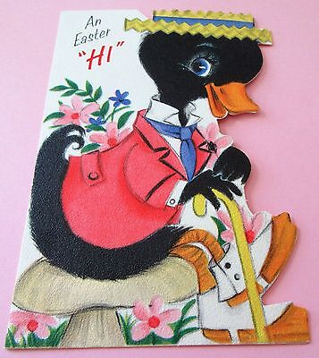 Used Vtg Easter Card Cute Black Duck in Pink Jacket w Cane Hallmark