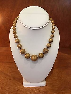 Vintage 1960s SIGNED Miriam Haskell Gold Dipped Beaded Necklace