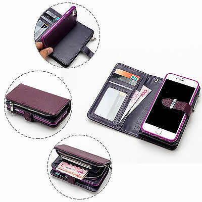 For iPhone 6/6S Plus Removable Wallet Zipper Leather Protective Card Case Cover