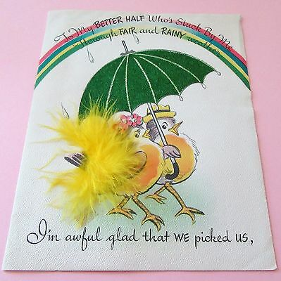 Used Vtg Easter Card Birds w Flocked Umbrella & Yellow Feathers