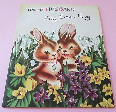 Used Vtg Easter Card 50s Norcross Multi Page to Husband Cute Bunny Couple