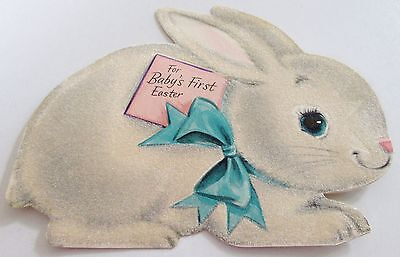 Used Vtg Easter Card Hallmark Baby's First Easter w Flocked Bunny in Bow