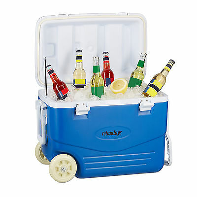 Rolling Cooler, Non-Electric Cool Box, Picnic Cooler Trolley, Blue 46 L