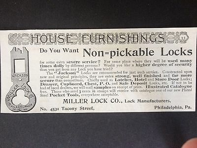 Antique 1893 Ad (1800-7)~Miller Lock Mfg. Co. Tacony St. Phil. Pa.