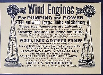 Antique 1892 Ad (1800-14)~Smith & Winchester Wind Engines For Pumping And Power