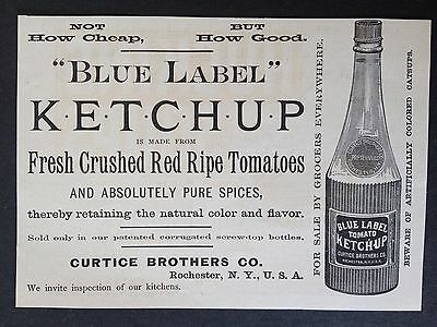 """Antique 1889 Ad (1800-10)~""""blue Label"""" Ketchup. Curtice Bros. Co. Rochester, Ny."""