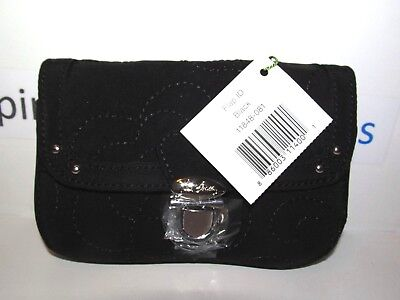 Vera Bradley Flap Id Key Clip Id Wallet Black Microfiber Retired Sold Out!  Nwt