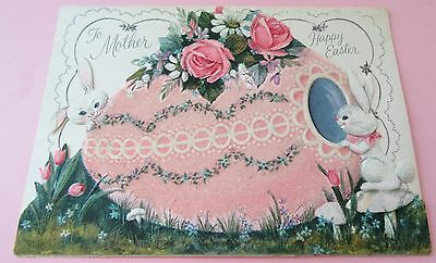 Used Vtg Easter Card Die Cut Glittery Pink Easter Egg w Flowers & Bunnies