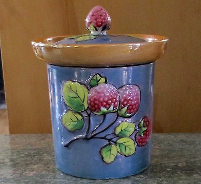 1930's Lusterware Takito Co.Figural Raspberry Covered Jam Jar