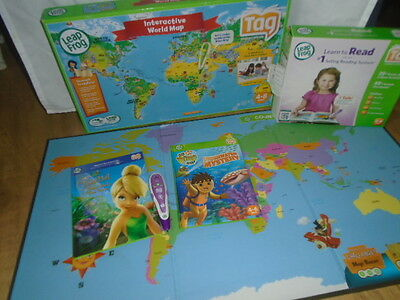 Purple/white Leap Frog Tag  Reading System Pen & 2 Books Vg Condition With Map