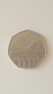 Rare Collectable UK 2000 50 Pence 50p Public Libraries