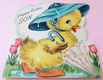 Used Vtg Easter Card Die Cut Chick Duck in Hat w Glittery Umbrella in the Rain