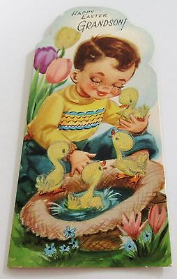 Used Vtg Easter Card Boy w Ducks Swimming in Hat by Tulips