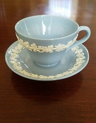 Wedgwood Queensware Cream On Lavender Blue  TEA CUP AND SAUCER