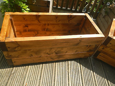 large chunky pre treated wooden garden planter plant pots