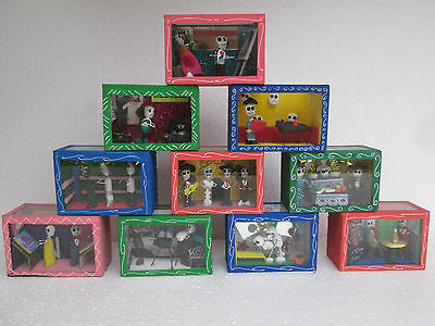 10 SHADOW BOX SET day of the dead nicho lot wholesale mexican handmade folk art