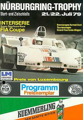 1979 Programm Int. Nürburgring Trophy Luxembourg Interserie TW GT Formel Ford
