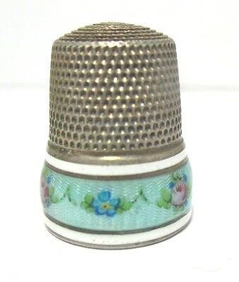 Vintage Sterling Silver Thimble French Enamel Blue Floral 7.4 Grams