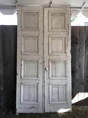 Large 4-Panel White Antique French Chateau Double Doors