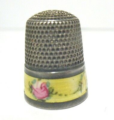 Vintage Sterling Silver Thimble French Enamel Yellow Floral 5.6 Grams
