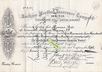 Share Certificate 1894 Northern Maritime Insurance Co Ltd Thirty Shares Bell