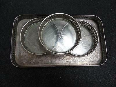 Manning Bowman & Co Ornate Silverplate 3-Glass Bottom Coasters w/Serving Tray