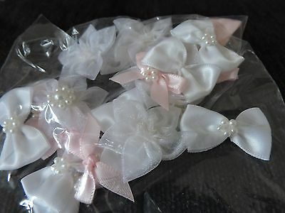 23 mixed individual bow/flower shaped decorative pieces-crafting&embel
