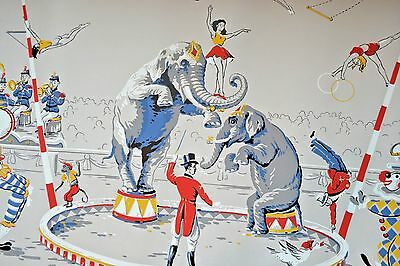 Signed Hand Printed Wallpaper Mural Antique Graphic Art Quebec 3 Ring Circus