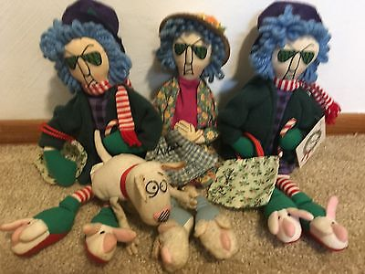 Maxine from Hallmark's Shoebox Collection Set of 3 stuffed dolls+the little dog