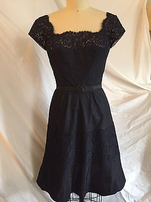 Norman Norell Navy Taffeta & Lace Cocktail Dress