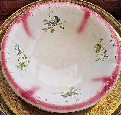 Vintage Decorated Powder Toilet Bowl Porcelain Ceramic Pottery 41 CM Diameter