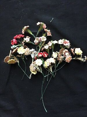 VTG Millinery Flowers Pink Blue Red Yellow Corsage Boutonniere Forget Me Nots
