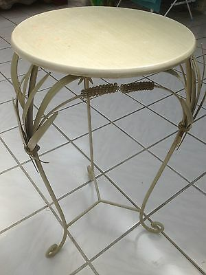 Vintage Metal Shabby Chic Table/jardiniere Stand