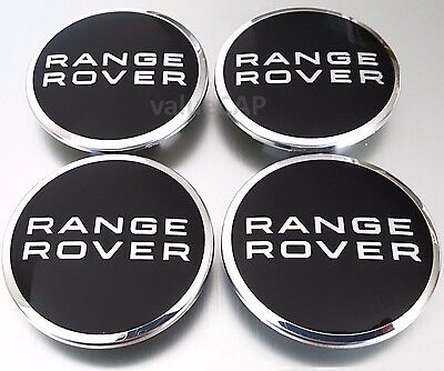 RANGE ROVER LAND ROVER BLACK/CHROME WHEEL CENTER HUB CAPS 63mm 4pcs