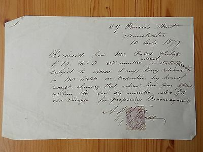 Paper Receipt - Princes Street Manchester dated 1877