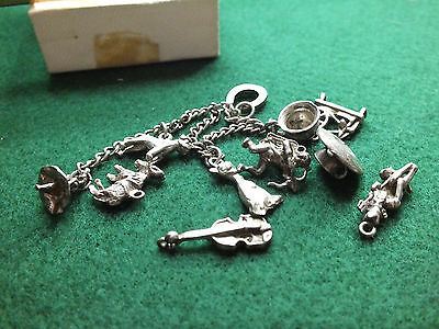 Collection / Job Lot 11 Vintage Solid Silver Charms & Chain