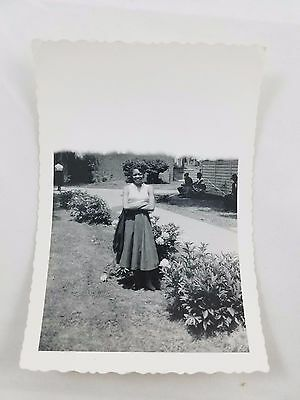Snapshot Photograph African-American Lady Standing by Flowers Black & White S01
