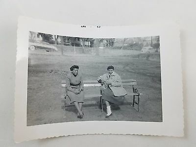 1957 Snapshot Photograph Two African-American Ladies on Park Bench Black & White
