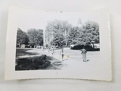 1955 Snapshot Photograph African-American Campus Photo Black & White S01