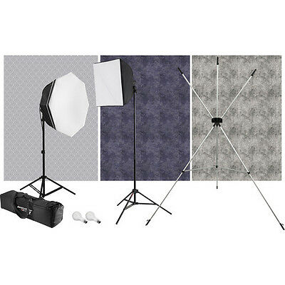 Westcott 446 uLite 2-Light Kit with X-Drop Stand and 3 Backdrops