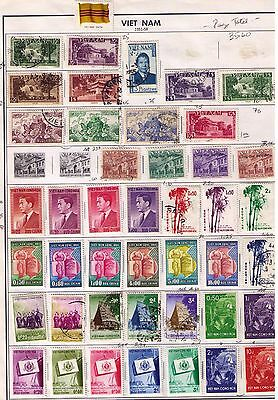 Vietnam Stamps 1951-to 1962 on 3 complete pages MH MNH USED CAT.$120